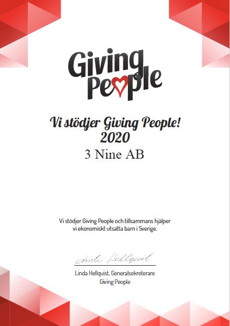3nine stödjer giving people